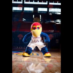 Maskot velký modrý červený a žlutý pták - Redbrokoly.com