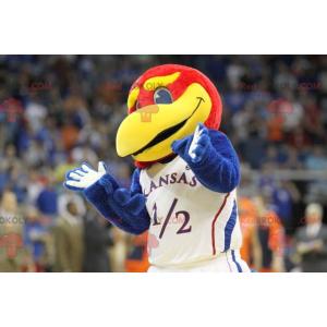 Mascot big blue red and yellow bird - Redbrokoly.com