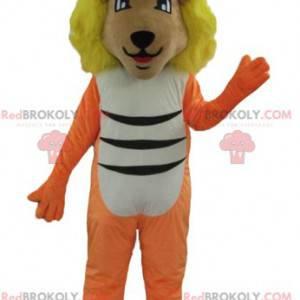 Orange lion mascot white and black with a yellow mane -