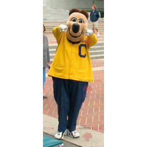 Braunbärenmaskottchen in gelber und blauer Sportbekleidung -