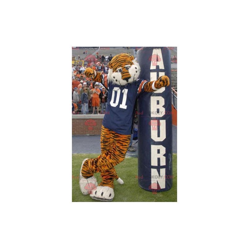 Oranžový a černý tygr maskot s modrým dresem - Redbrokoly.com