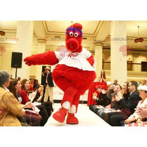 Maskot velký červený modrý a bílý pták - Redbrokoly.com