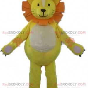 Lew maskotka biały i pomarańczowy lwiątko - Redbrokoly.com