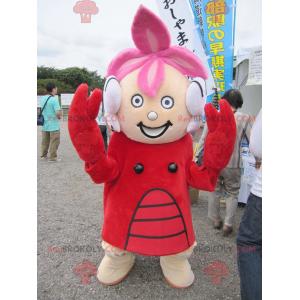 Garota mascote vestida com fantasia de lagosta - Redbrokoly.com