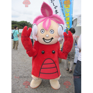 Meisje mascotte gekleed in kreeft kostuum - Redbrokoly.com