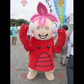 Maskot dívka oblečená v kostýmu humra - Redbrokoly.com