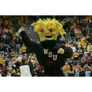 Maskot žlutý sněhulák s černým sportovním oblečením -