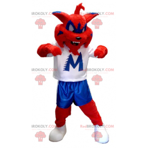 Red blue and white cat mascot - Redbrokoly.com