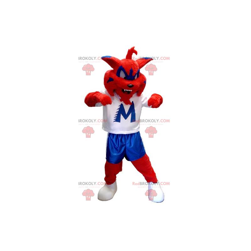 Rotes blaues und weißes Katzenmaskottchen - Redbrokoly.com