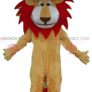 Czerwono-biała beżowa maskotka lew z ładną grzywą -