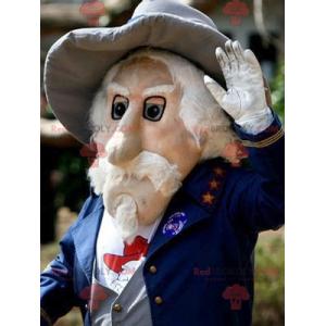 Maskot vousatý stařík v modrém obleku - Redbrokoly.com