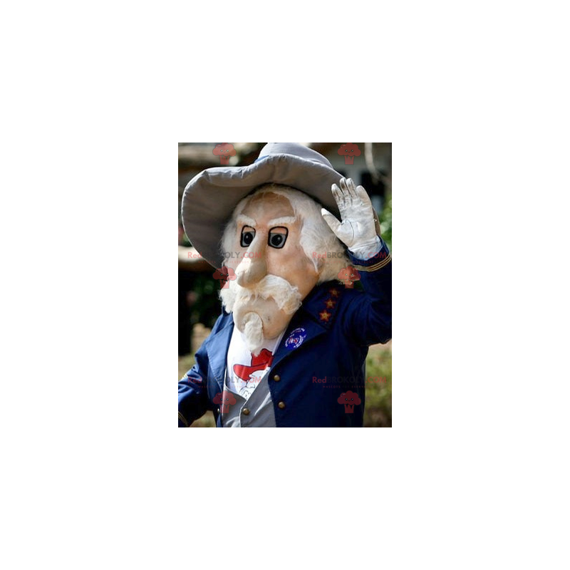 Mascot bearded old man in blue suit - Redbrokoly.com
