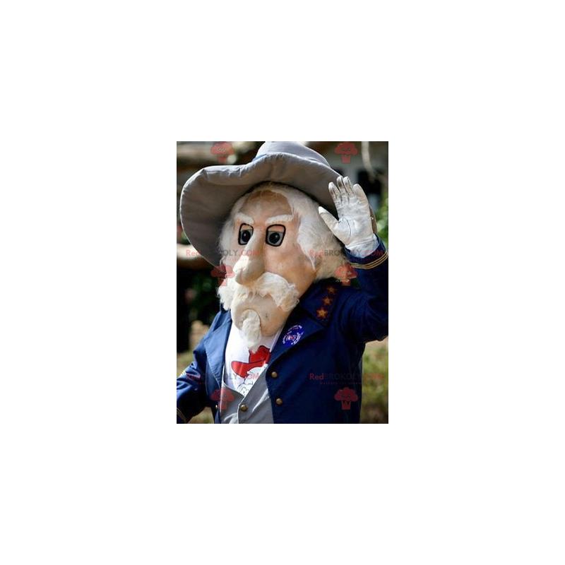 Maskottchen bärtiger alter Mann im blauen Anzug - Redbrokoly.com