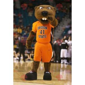 Mascot brown beaver bear in sportswear - Redbrokoly.com