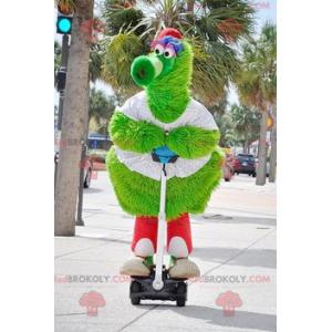 Großes haariges grünes Vogelmaskottchen - Redbrokoly.com