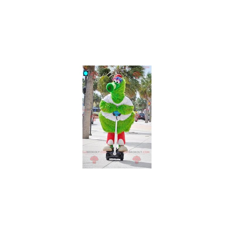 Velký chlupatý zelený pták maskot - Redbrokoly.com