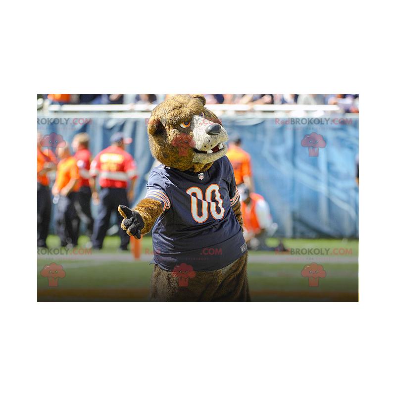 Maskot medvěd hnědý s modrým dresem - Redbrokoly.com