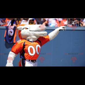 Bílý a oranžový kůň maskot - Redbrokoly.com