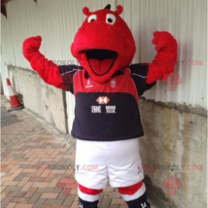 Rotes Nilpferd-Maskottchen in Sportbekleidung - Redbrokoly.com
