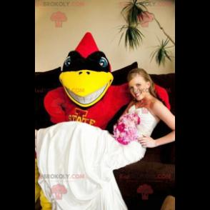 Červená žlutá a černá superhrdina pták maskot - Redbrokoly.com