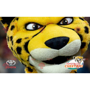 Svart og hvit gul tiger cheetah maskot - Redbrokoly.com