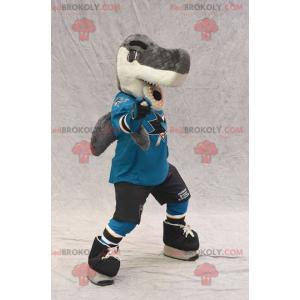 Gray and white shark mascot in sportswear - Redbrokoly.com