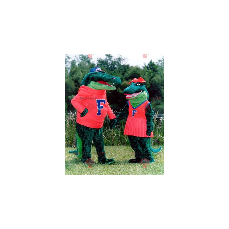 Mascot couple of green crocodiles - Redbrokoly.com