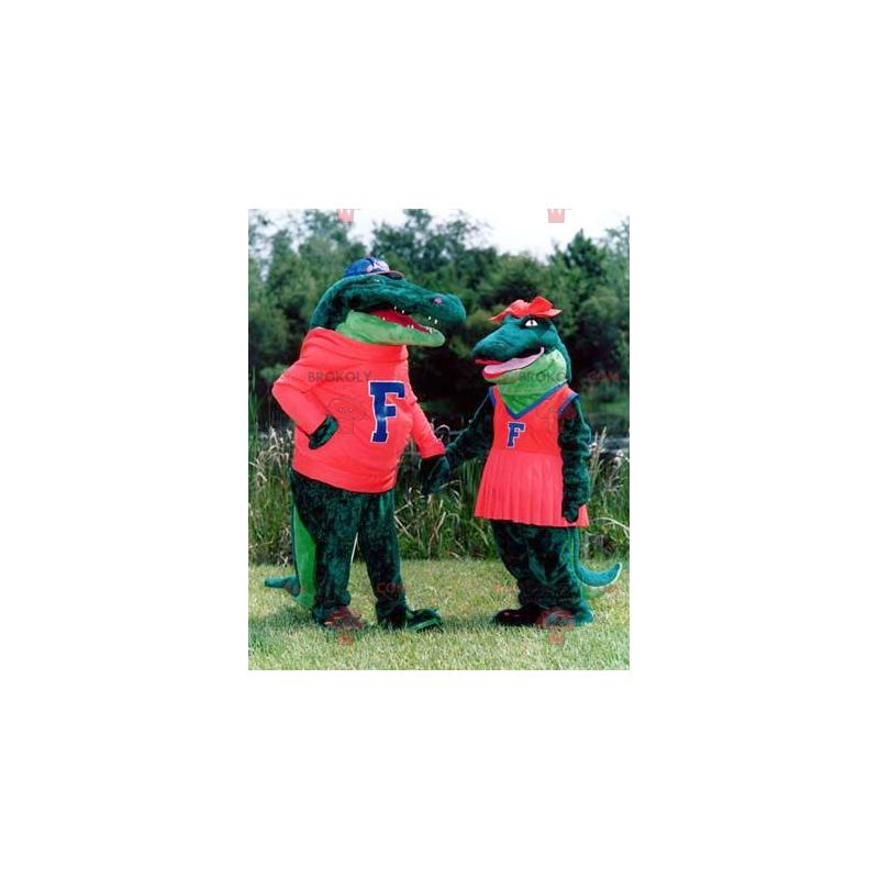 Maskottchenpaar grüne Krokodile - Redbrokoly.com