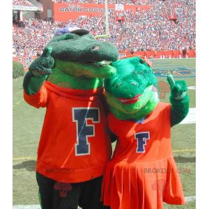 Maskot pár zelených krokodýlů - Redbrokoly.com