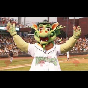Großes grünes Drachenmaskottchen - Redbrokoly.com