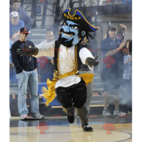 Blue pirate mascot in traditional dress - Redbrokoly.com