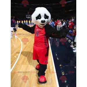 Black and white panda mascot in sportswear - Redbrokoly.com
