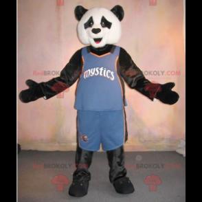 Maskot černá a bílá panda ve sportovním oblečení -