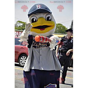 Maskot bílá a žlutá kachna ve sportovním oblečení -