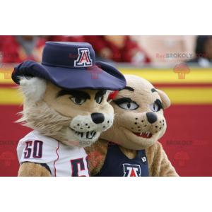 Beige tiger lion mascot - Redbrokoly.com