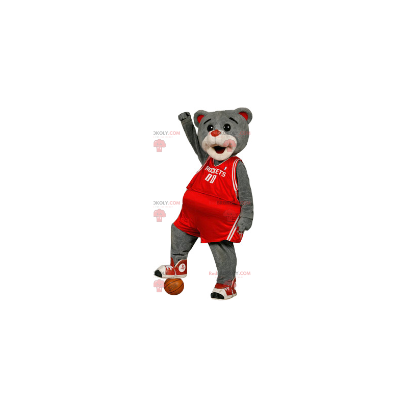 Gray bear mascot in red sportswear - Redbrokoly.com