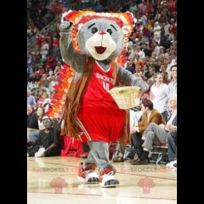 Šedý medvěd maskot v červené sportovní oblečení - Redbrokoly.com