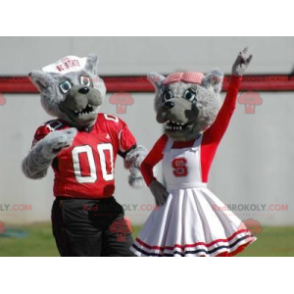 2 gray wolf mascots dressed in red and white - Redbrokoly.com