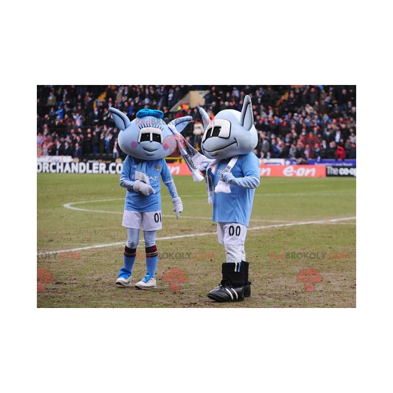 2 blue alien mascots - Redbrokoly.com
