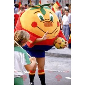 Riesiges Mandarinenmaskottchen in Sportbekleidung -