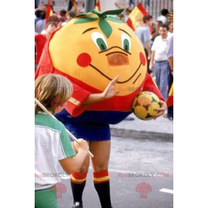 Giant tangerine orange mascot in sportswear - Redbrokoly.com