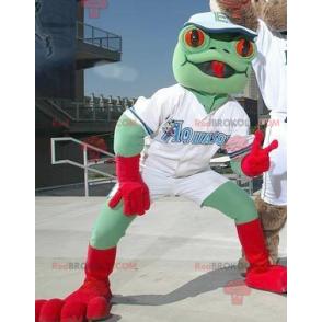 Maskot zelená a červená žába - Redbrokoly.com