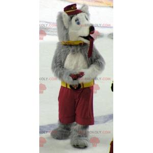 Gray and white wolf dog mascot - Redbrokoly.com