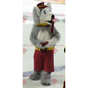 Graues und weißes Wolfshundemaskottchen - Redbrokoly.com