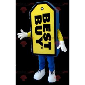 Niebiesko-żółta maskotka Best Buy z gigantyczną etykietą -