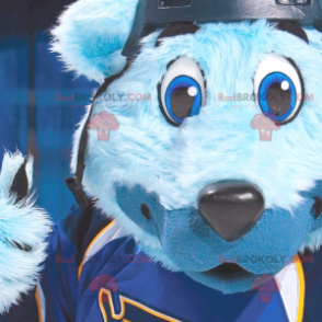 Blue bear mascot with blue eyes in sportswear - Redbrokoly.com