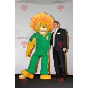 Yellow lion mascot with a flowery mane - Redbrokoly.com
