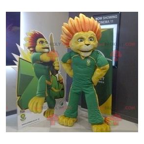 Gelbes Löwenmaskottchen mit einer blumigen Mähne -