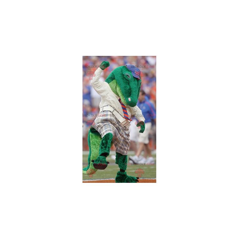 Grünes Krokodilmaskottchen gekleidet in Rot - Redbrokoly.com