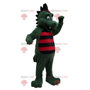 Green crocodile dinosaur mascot striped with black and red -